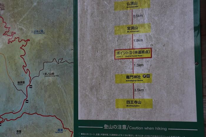 正面ルート ポイント3 林道終点