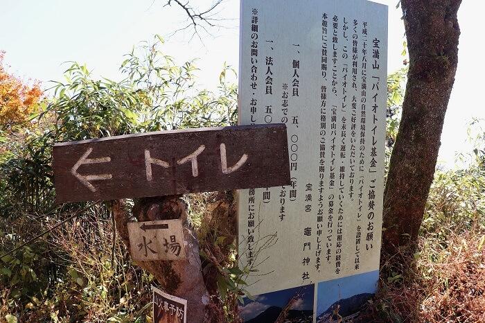 宝満山のトイレと水場の看板