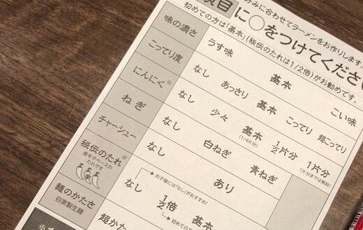 一蘭ラーメンの注文表